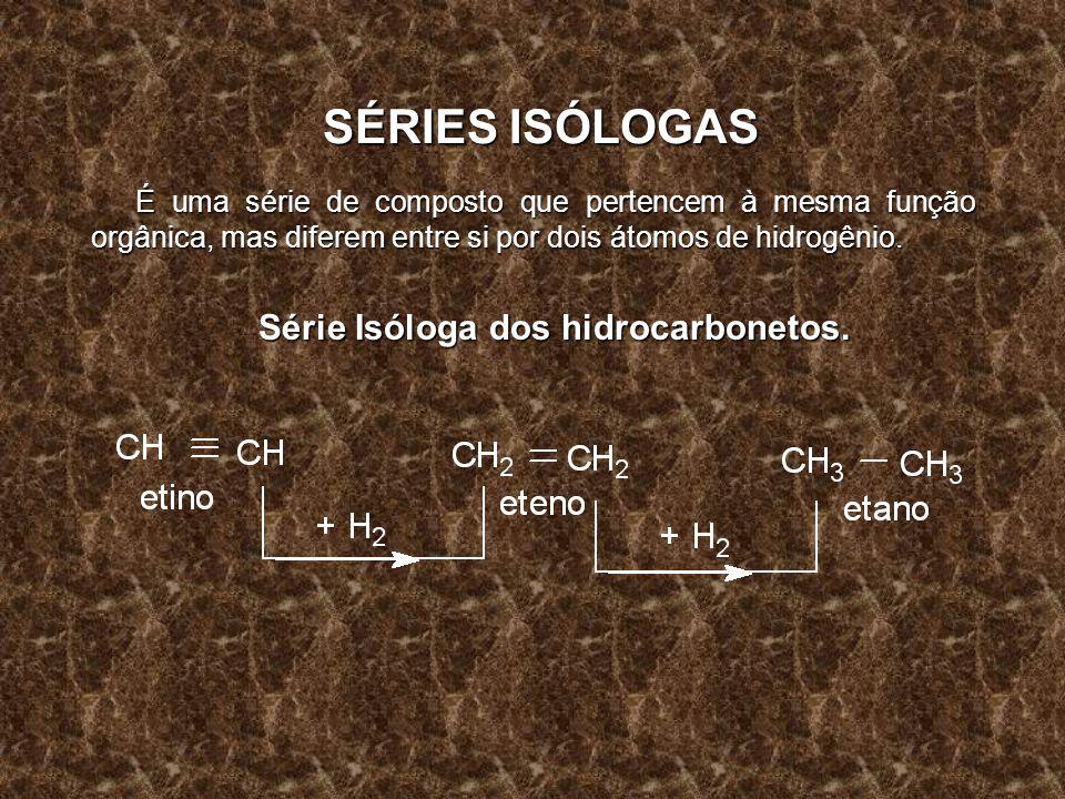 SÉRIES ISÓLOGAS É uma série de composto que pertencem à mesma função orgânica, mas diferem entre si por dois átomos de hidrogênio. Série Isóloga dos h