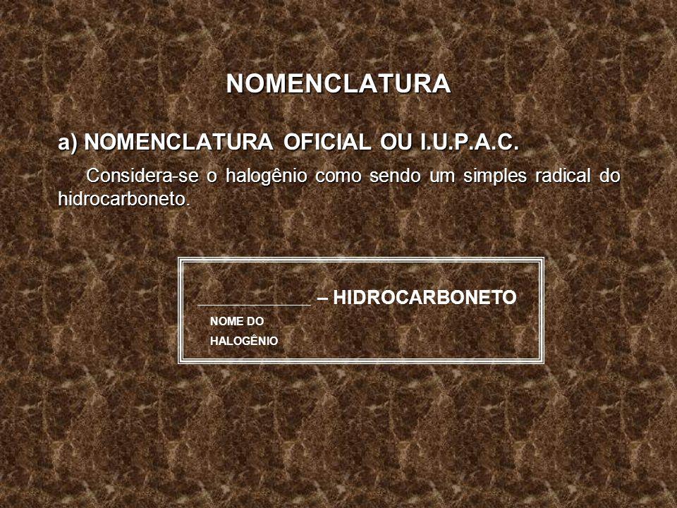 NOMENCLATURA a) NOMENCLATURA OFICIAL OU I.U.P.A.C. Considera-se o halogênio como sendo um simples radical do hidrocarboneto. NOME DO HALOGÊNIO – HIDRO