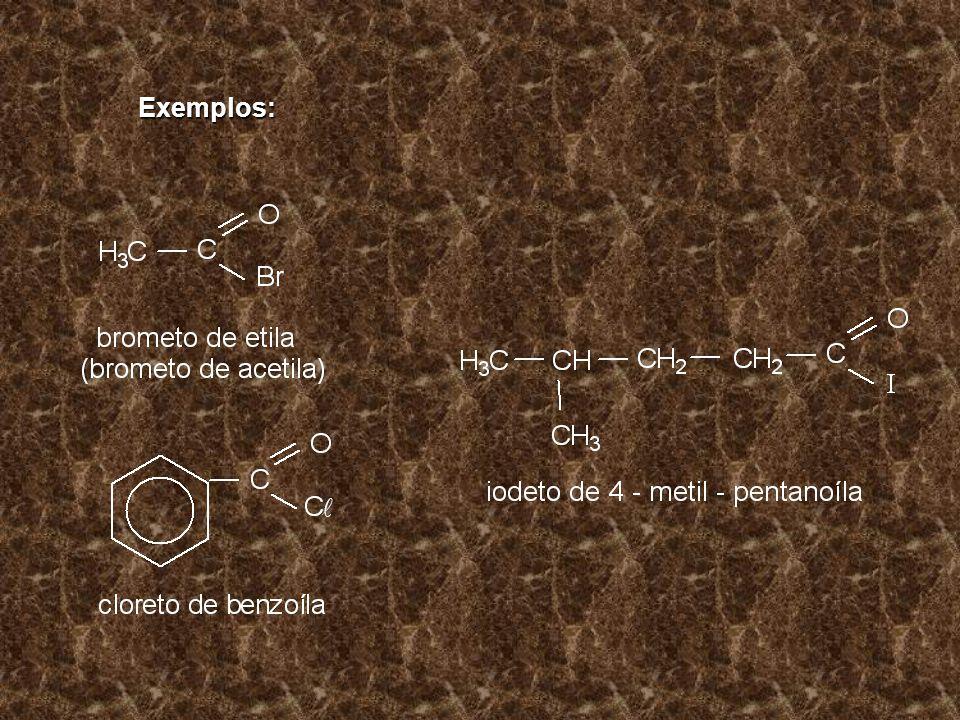 Exemplos: Exemplos: CH 3 – SO 3 H CH 3 – SO 3 H Ácido metano sulfônico CH 3 – CH 2 – CH – CH 3 | SO 3 H SO 3 H Ácido 2 – butano sulfônico