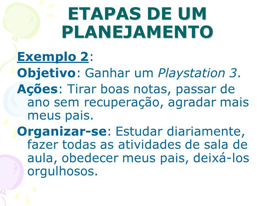 ETAPAS DE UM PLANEJAMENTO Exemplo 2: Objetivo: Ganhar um Playstation 3. Ações: Tirar boas notas, passar de ano sem recuperação, agradar mais meus pais