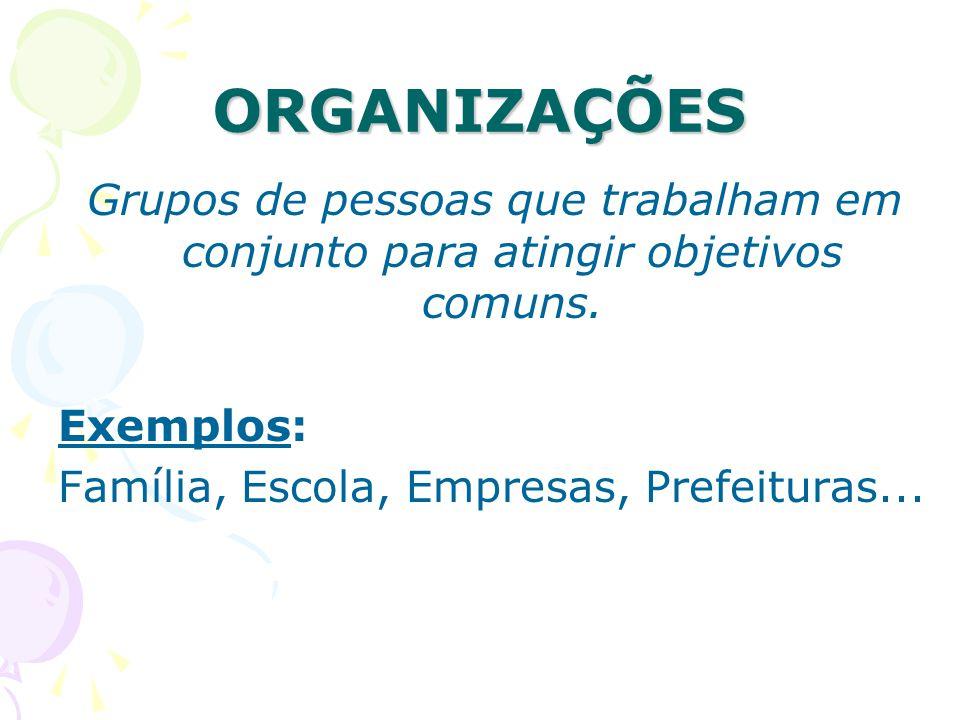 ORGANIZAÇÕES Grupos de pessoas que trabalham em conjunto para atingir objetivos comuns. Exemplos: Família, Escola, Empresas, Prefeituras...