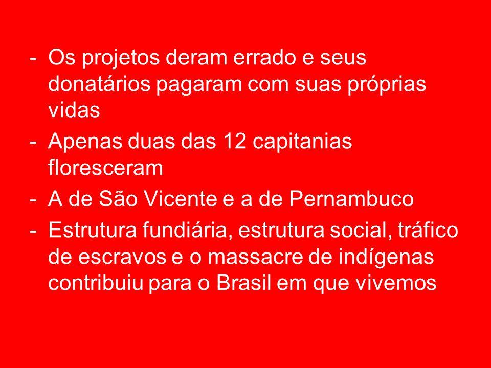 -Os projetos deram errado e seus donatários pagaram com suas próprias vidas -Apenas duas das 12 capitanias floresceram -A de São Vicente e a de Pernambuco -Estrutura fundiária, estrutura social, tráfico de escravos e o massacre de indígenas contribuiu para o Brasil em que vivemos