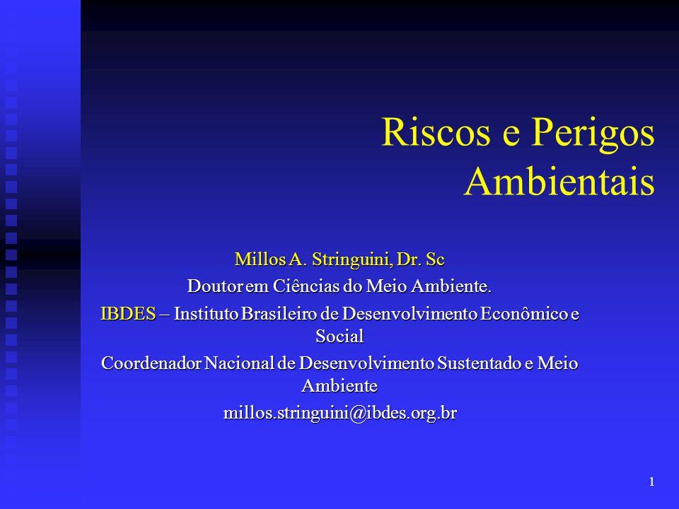 1 Riscos e Perigos Ambientais Millos A. Stringuini, Dr. Sc Doutor em Ciências do Meio Ambiente. IBDES – Instituto Brasileiro de Desenvolvimento Econôm
