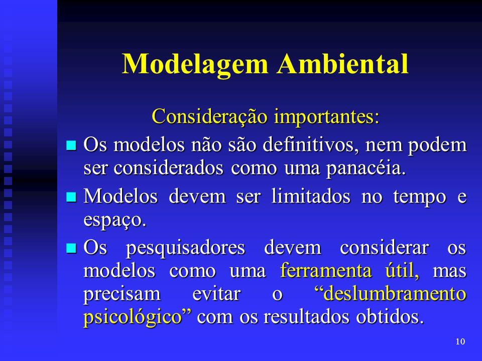 10 Modelagem Ambiental Consideração importantes: Os modelos não são definitivos, nem podem ser considerados como uma panacéia. Os modelos não são defi