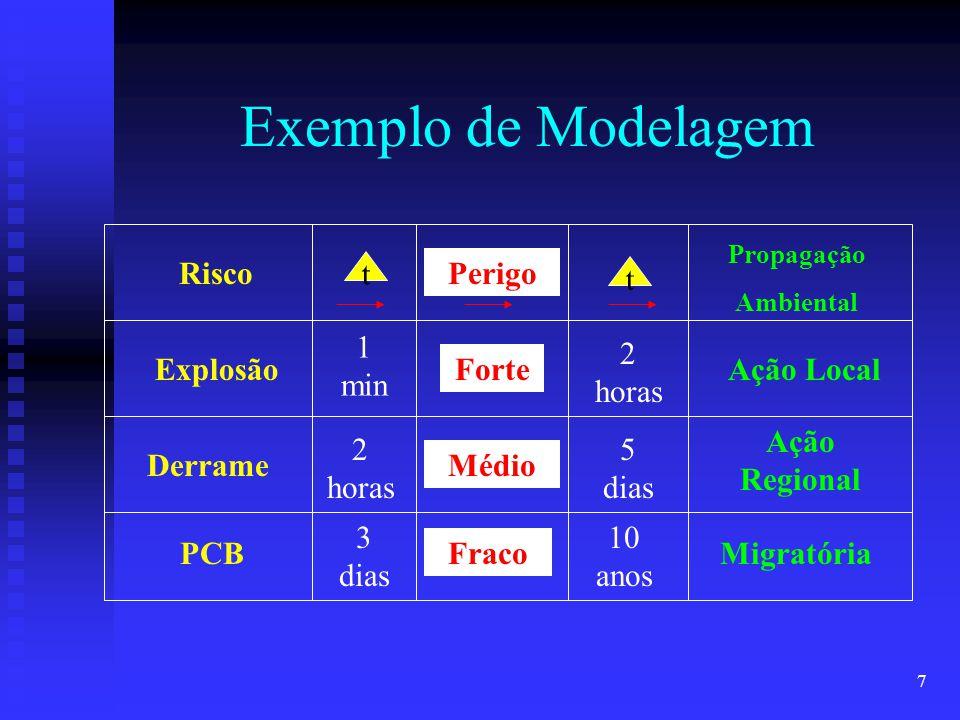 7 Exemplo de Modelagem RiscoPerigo Propagação Ambiental t t Explosão Derrame PCB 1 min 2 horas 3 dias Forte Médio Fraco 2 horas Ação Local 5 dias Ação
