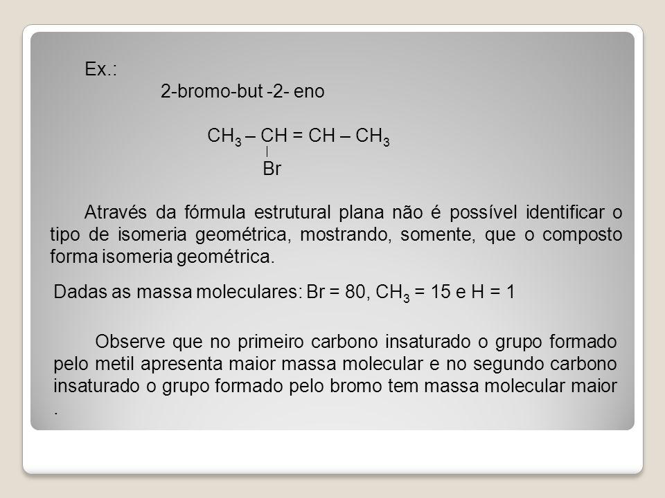 Ex.: 2-bromo-but -2- eno CH 3 – CH = CH – CH 3 Br Através da fórmula estrutural plana não é possível identificar o tipo de isomeria geométrica, mostra