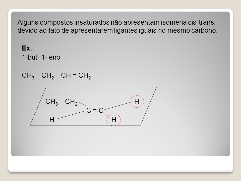 Alguns compostos insaturados não apresentam isomeria cis-trans, devido ao fato de apresentarem ligantes iguais no mesmo carbono. Ex.: 1-but- 1- eno CH