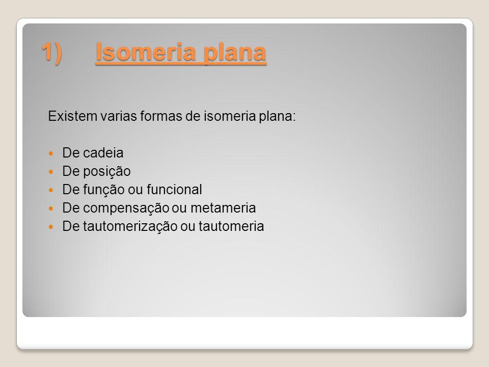1) Isomeria plana Existem varias formas de isomeria plana: De cadeia De posição De função ou funcional De compensação ou metameria De tautomerização o