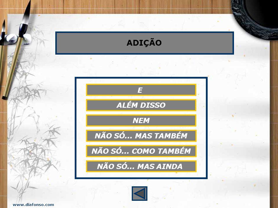 www.diafonso.com CONJUNÇÕES COORDENATIVAS: VALORES SEMÂNTICOS Adição Adversidade, oposição Alternância Conclusão Explicação