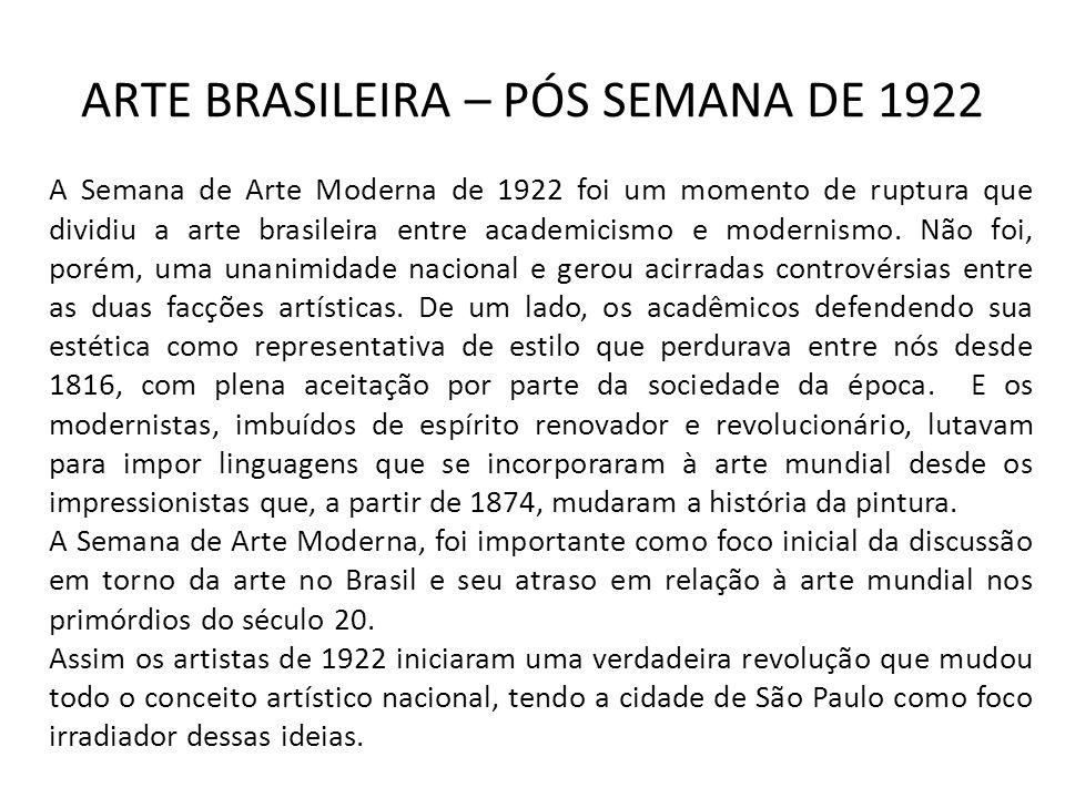 ARTE BRASILEIRA – PÓS SEMANA DE 1922 A Semana de Arte Moderna de 1922 foi um momento de ruptura que dividiu a arte brasileira entre academicismo e modernismo.