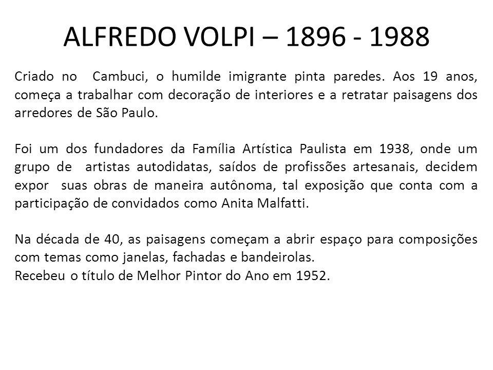 ALFREDO VOLPI – 1896 - 1988 Criado no Cambuci, o humilde imigrante pinta paredes.