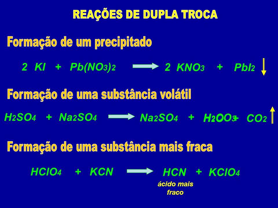 Pb(NO 3 ) 2 KI+ KNO 3 2+ PbI 2 2 Na 2 SO 4 H 2 SO 4 + H 2 CO 3 + Na 2 SO 4 CO 2 H2OH2O+ KCNHClO 4 + HCN + KClO 4 ácido mais fraco