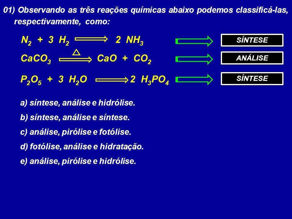 01) Observando as três reações químicas abaixo podemos classificá-las, respectivamente, como: N 2 + 3 H 2 2 NH 3 CaCO 3 CaO + CO 2 P 2 O 5 + 3 H 2 O 2