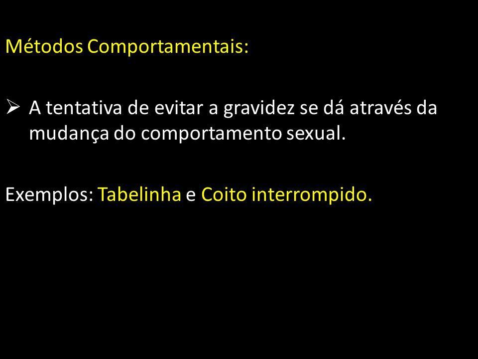 Métodos Comportamentais: A tentativa de evitar a gravidez se dá através da mudança do comportamento sexual. Exemplos: Tabelinha e Coito interrompido.