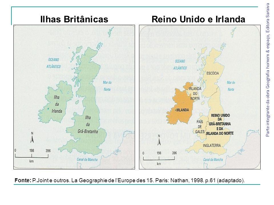 Fonte: P.Joint e outros. La Geographie de lEurope des 15. Paris: Nathan, 1998. p.61 (adaptado). Ilhas BritânicasReino Unido e Irlanda