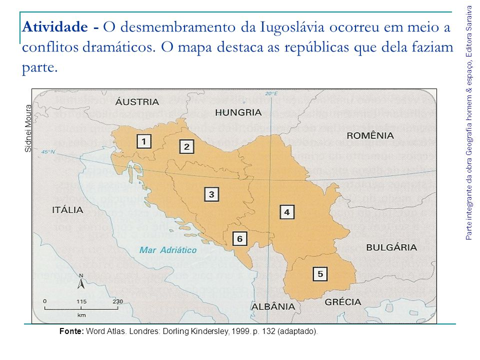 Parte integrante da obra Geografia homem & espaço, Editora Saraiva Atividade - O desmembramento da Iugoslávia ocorreu em meio a conflitos dramáticos.