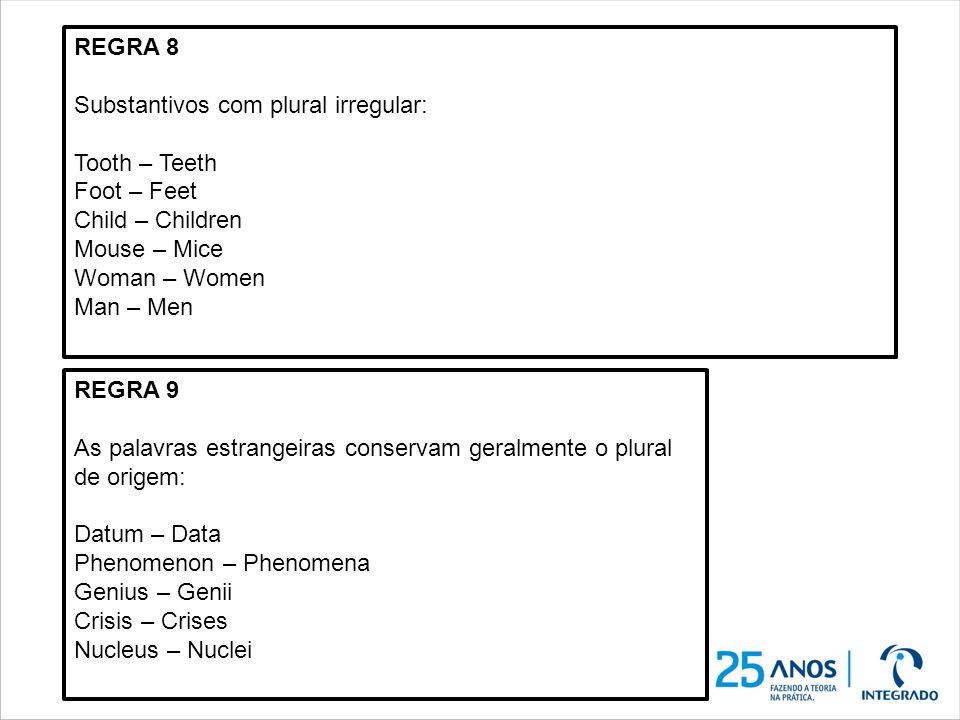 REGRA 8 Substantivos com plural irregular: Tooth – Teeth Foot – Feet Child – Children Mouse – Mice Woman – Women Man – Men REGRA 9 As palavras estrang