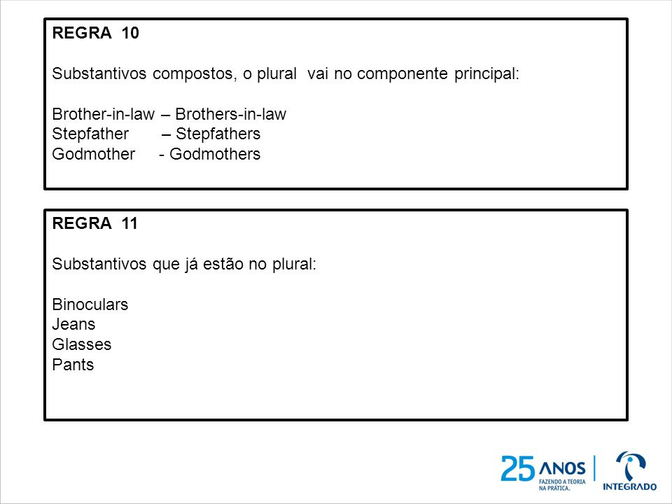 REGRA 10 Substantivos compostos, o plural vai no componente principal: Brother-in-law – Brothers-in-law Stepfather – Stepfathers Godmother - Godmother