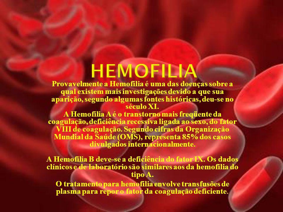Provavelmente a Hemofilia é uma das doenças sobre a qual existem mais investigações devido a que sua aparição, segundo algumas fontes históricas, deu-