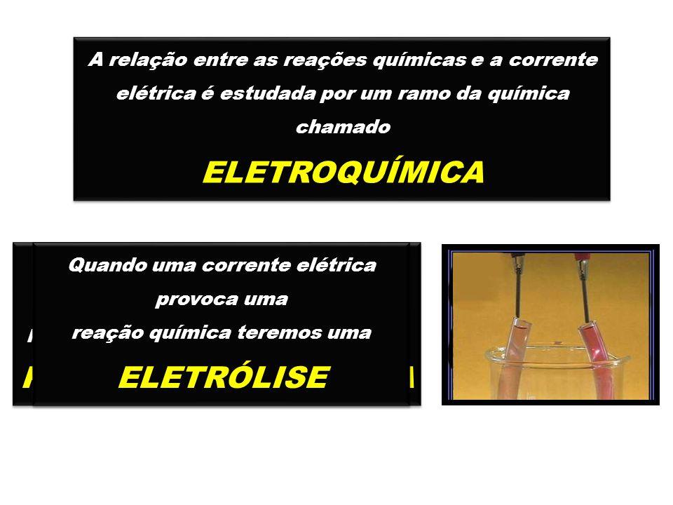 A relação entre as reações químicas e a corrente elétrica é estudada por um ramo da química chamado ELETROQUÍMICA A relação entre as reações químicas e a corrente elétrica é estudada por um ramo da química chamado ELETROQUÍMICA Quando uma reação química de óxido redução, espontânea, produz energia elétrica teremos uma PILHA ELETROQUÍMICA Quando uma reação química de óxido redução, espontânea, produz energia elétrica teremos uma PILHA ELETROQUÍMICA Quando uma corrente elétrica provoca uma reação química teremos uma ELETRÓLISE Quando uma corrente elétrica provoca uma reação química teremos uma ELETRÓLISE