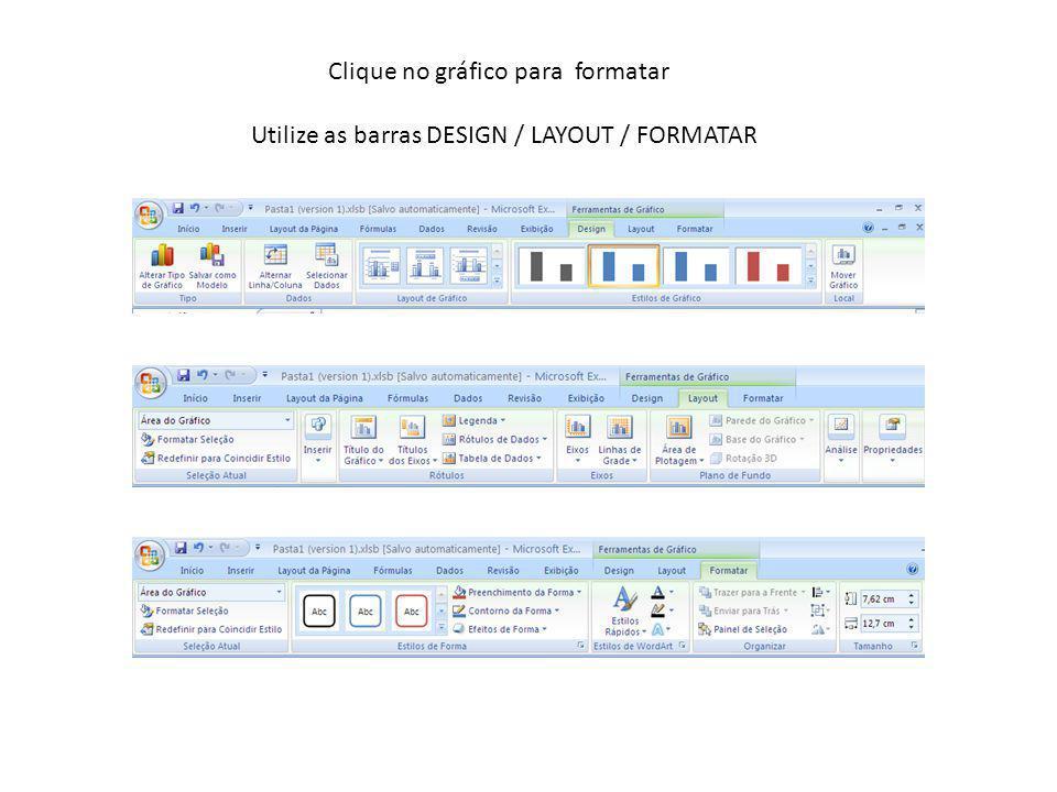 Clique no gráfico para formatar Utilize as barras DESIGN / LAYOUT / FORMATAR