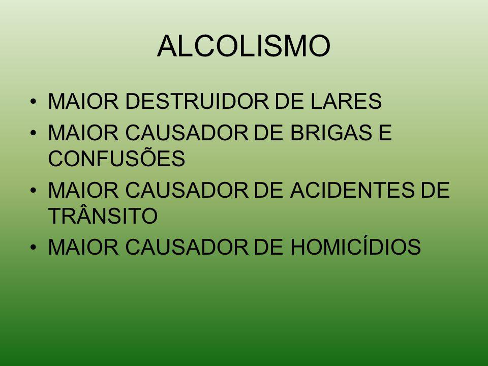 ALCOLISMO MAIOR DESTRUIDOR DE LARES MAIOR CAUSADOR DE BRIGAS E CONFUSÕES MAIOR CAUSADOR DE ACIDENTES DE TRÂNSITO MAIOR CAUSADOR DE HOMICÍDIOS