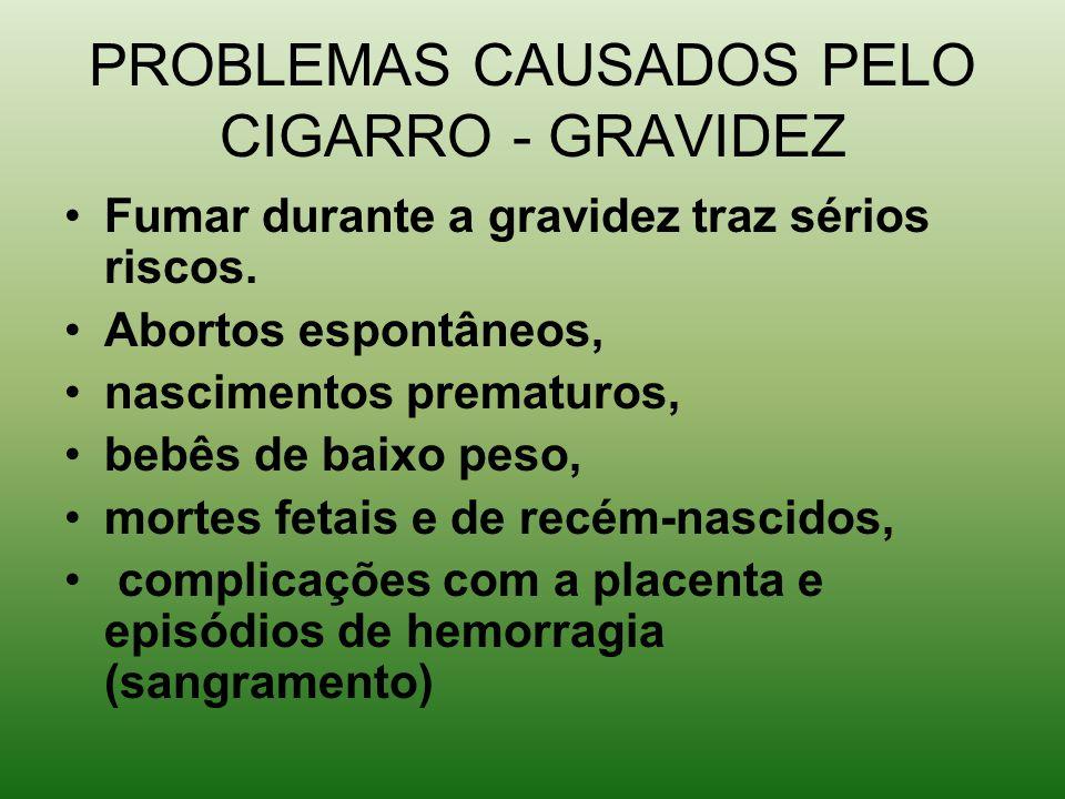 PROBLEMAS CAUSADOS PELO CIGARRO - GRAVIDEZ Fumar durante a gravidez traz sérios riscos.
