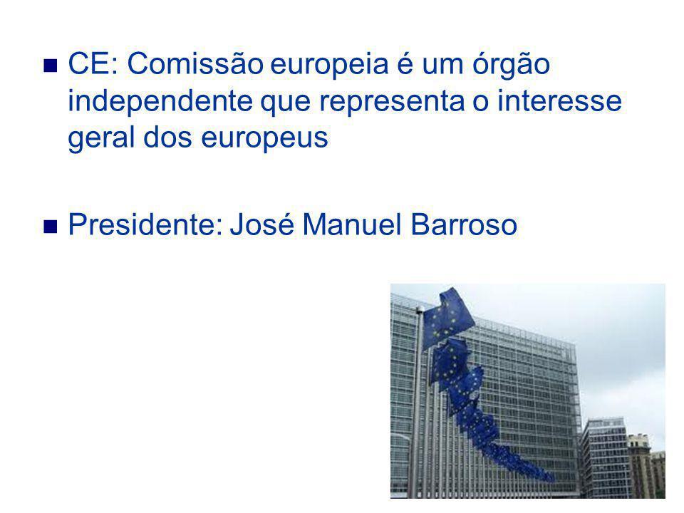 CE: Comissão europeia é um órgão independente que representa o interesse geral dos europeus Presidente: José Manuel Barroso