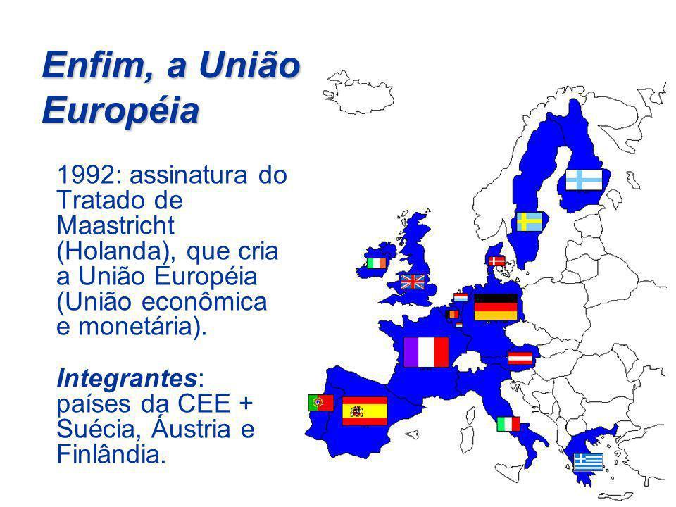 Enfim, a União Européia 1992: assinatura do Tratado de Maastricht (Holanda), que cria a União Européia (União econômica e monetária). Integrantes: paí