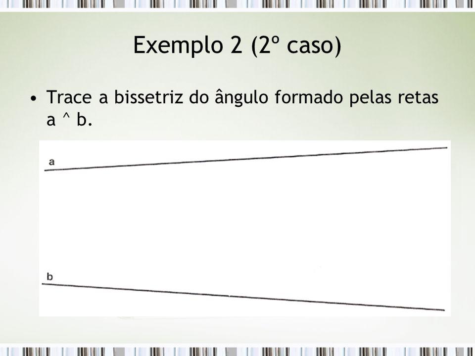 Exemplo 2 (2º caso) Trace a bissetriz do ângulo formado pelas retas a ^ b.