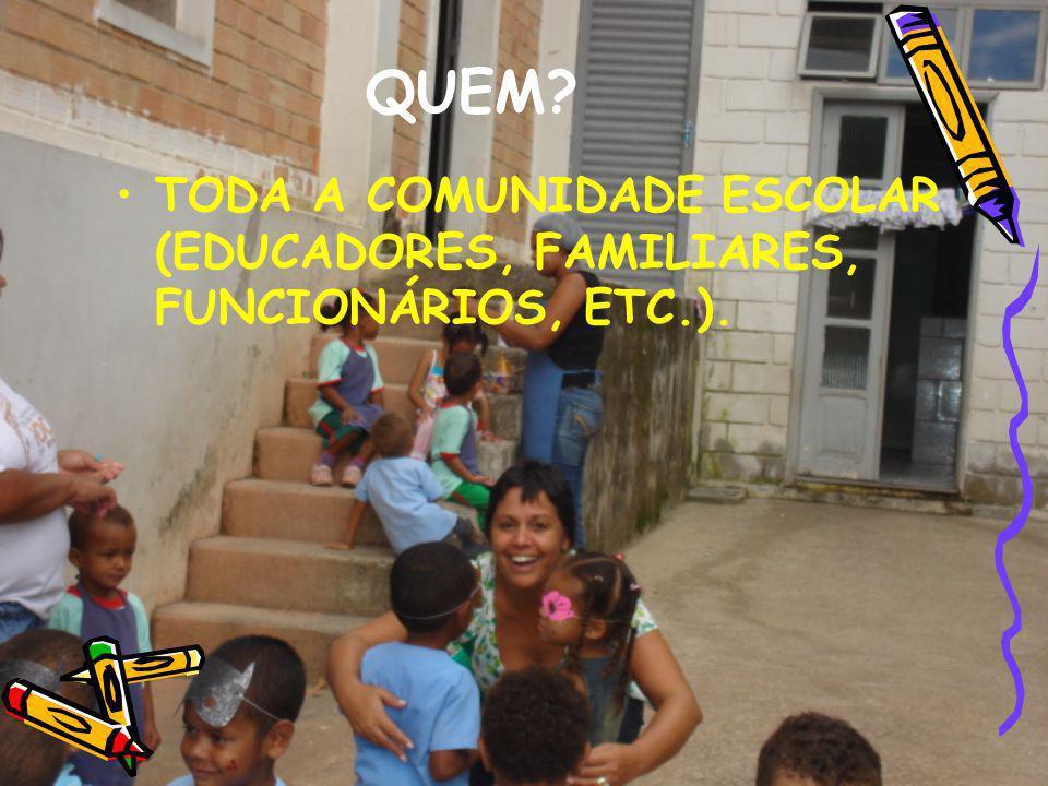 QUEM? TODA A COMUNIDADE ESCOLAR (EDUCADORES, FAMILIARES, FUNCIONÁRIOS, ETC.).