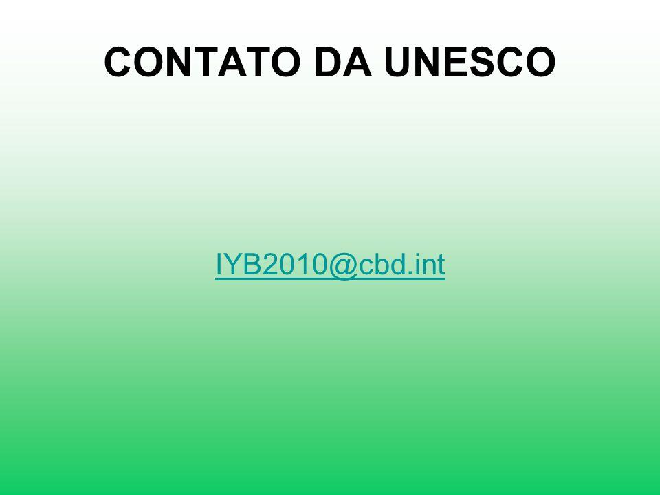 CONTATO DA UNESCO IYB2010@cbd.int