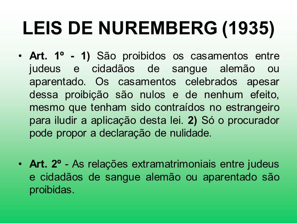 LEIS DE NUREMBERG (1935) Art. 1º - 1) São proibidos os casamentos entre judeus e cidadãos de sangue alemão ou aparentado. Os casamentos celebrados ape