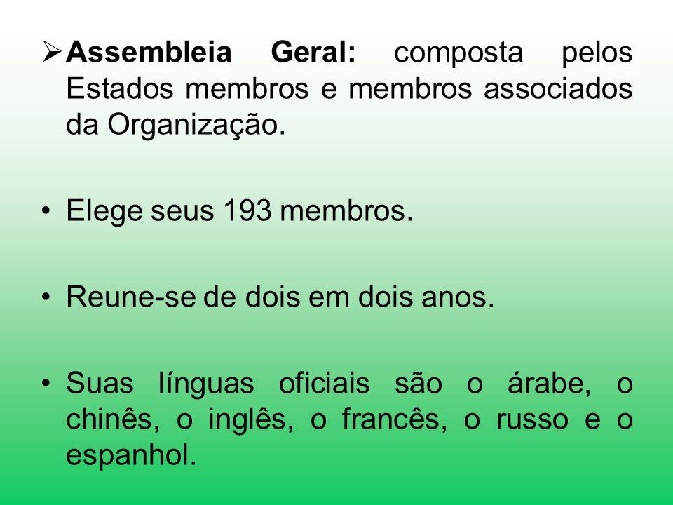 Assembleia Geral: composta pelos Estados membros e membros associados da Organização. Elege seus 193 membros. Reune-se de dois em dois anos. Suas líng