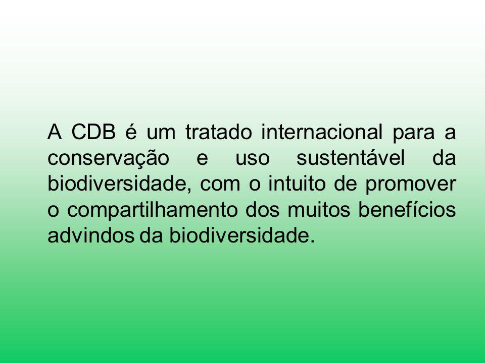 A CDB é um tratado internacional para a conservação e uso sustentável da biodiversidade, com o intuito de promover o compartilhamento dos muitos benefícios advindos da biodiversidade.