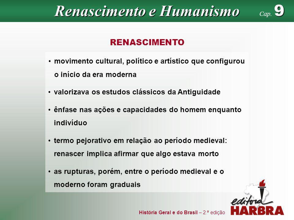História Geral e do Brasil – 2.ª edição movimento cultural, político e artístico que configurou o início da era moderna RENASCIMENTO valorizava os est