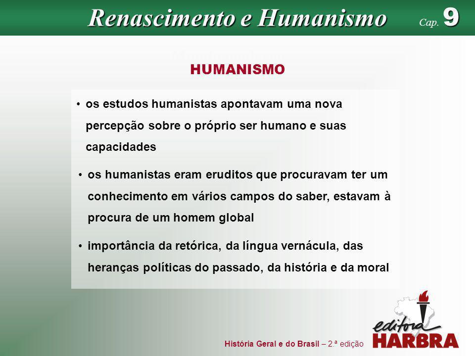 História Geral e do Brasil – 2.ª edição Mundo moderno HUMANISMO os estudos humanistas apontavam uma nova percepção sobre o próprio ser humano e suas c