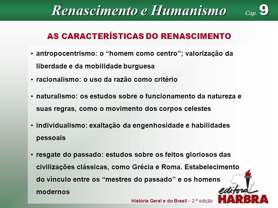 História Geral e do Brasil – 2.ª edição AS CARACTERÍSTICAS DO RENASCIMENTO antropocentrismo: o homem como centro; valorização da liberdade e da mobili