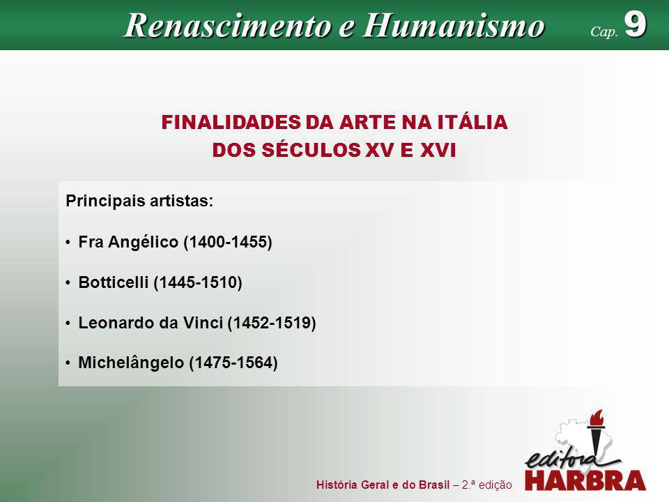 História Geral e do Brasil – 2.ª edição FINALIDADES DA ARTE NA ITÁLIA DOS SÉCULOS XV E XVI Principais artistas: Fra Angélico (1400-1455) Botticelli (1