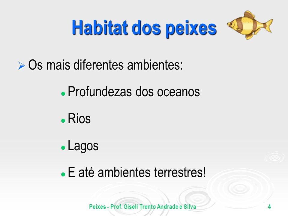 Peixes - Prof. Giseli Trento Andrade e Silva4 Habitat dos peixes Os mais diferentes ambientes: Os mais diferentes ambientes: Profundezas dos oceanos P