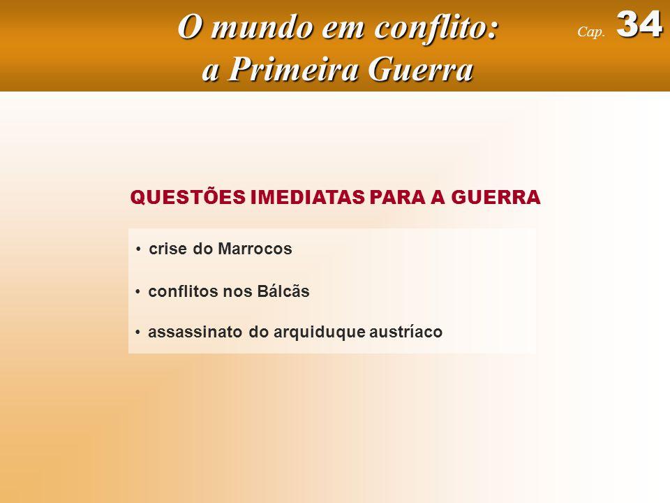 QUESTÕES IMEDIATAS PARA A GUERRA crise do Marrocos conflitos nos Bálcãs assassinato do arquiduque austríaco 34 Cap.