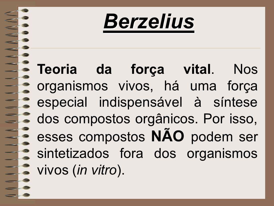 Berzelius Teoria da força vital. Nos organismos vivos, há uma força especial indispensável à síntese dos compostos orgânicos. Por isso, esses composto