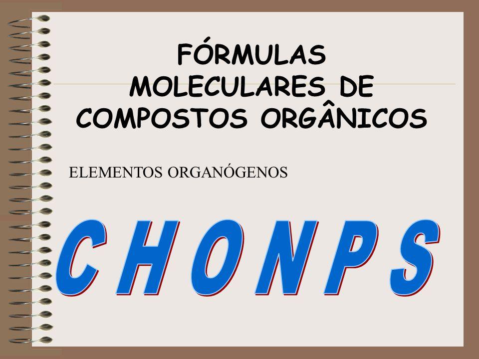 FÓRMULAS MOLECULARES DE COMPOSTOS ORGÂNICOS ELEMENTOS ORGANÓGENOS