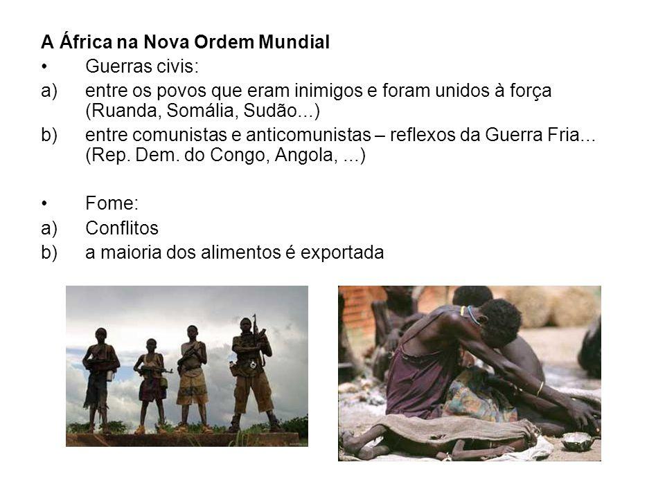 A África na Nova Ordem Mundial Guerras civis: a)entre os povos que eram inimigos e foram unidos à força (Ruanda, Somália, Sudão...) b)entre comunistas