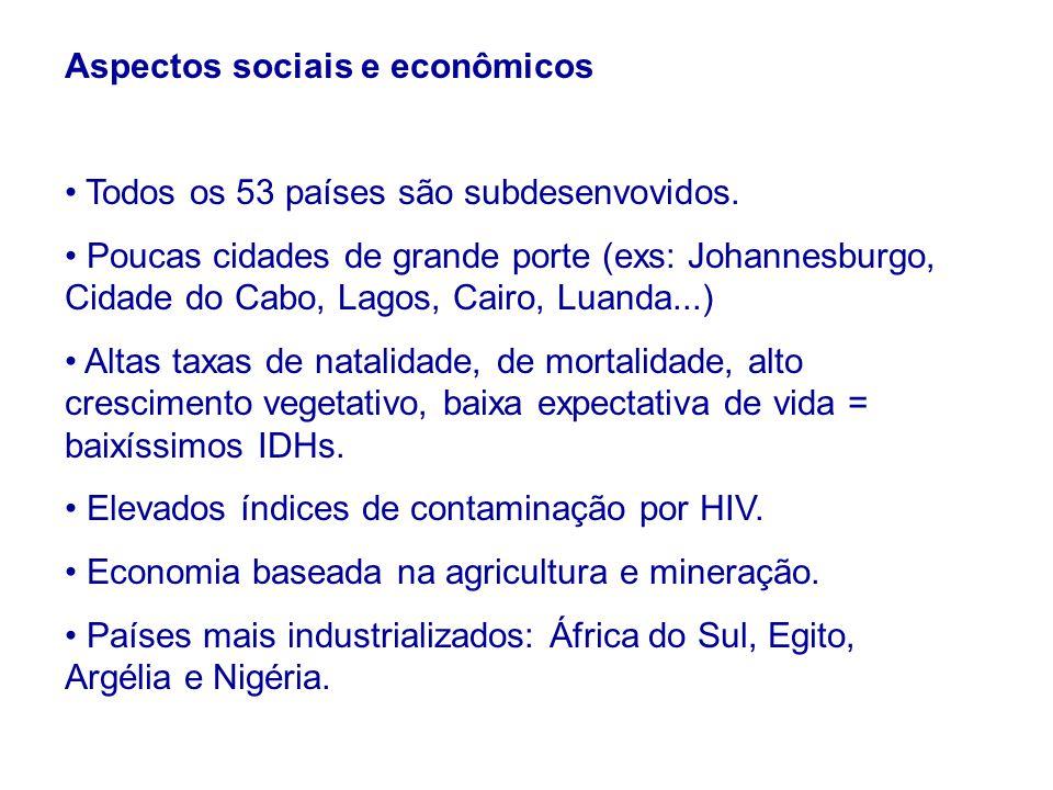 Aspectos sociais e econômicos Todos os 53 países são subdesenvovidos. Poucas cidades de grande porte (exs: Johannesburgo, Cidade do Cabo, Lagos, Cairo