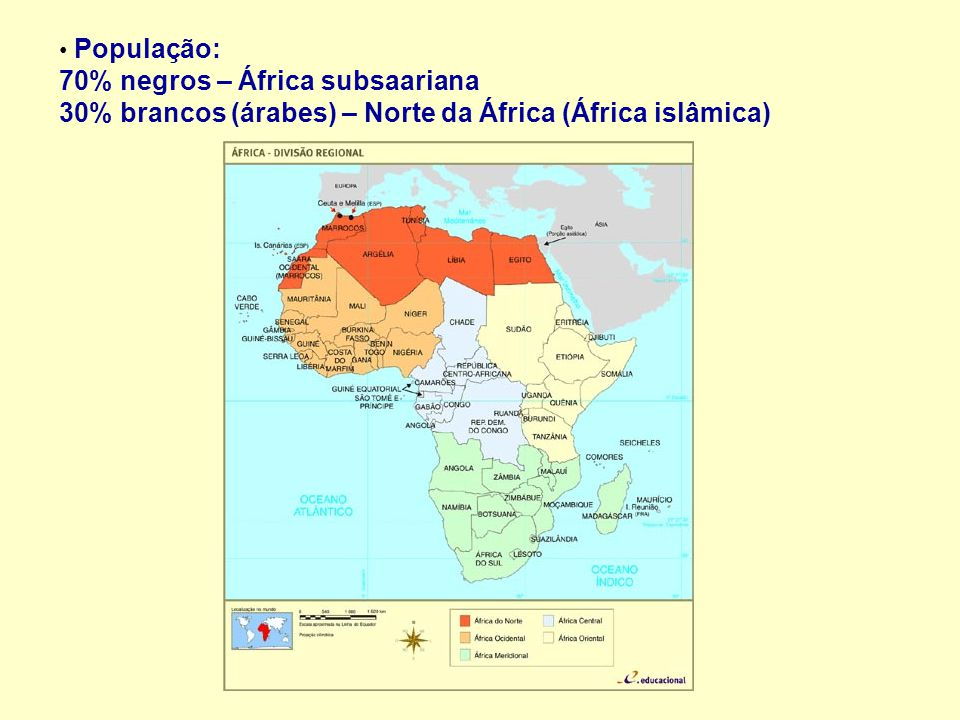 População: 70% negros – África subsaariana 30% brancos (árabes) – Norte da África (África islâmica)