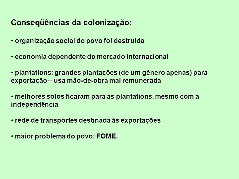 Conseqüências da colonização: organização social do povo foi destruída economia dependente do mercado internacional plantations: grandes plantações (d