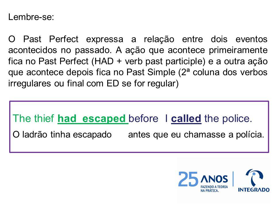 Lembre-se: O Past Perfect expressa a relação entre dois eventos acontecidos no passado.