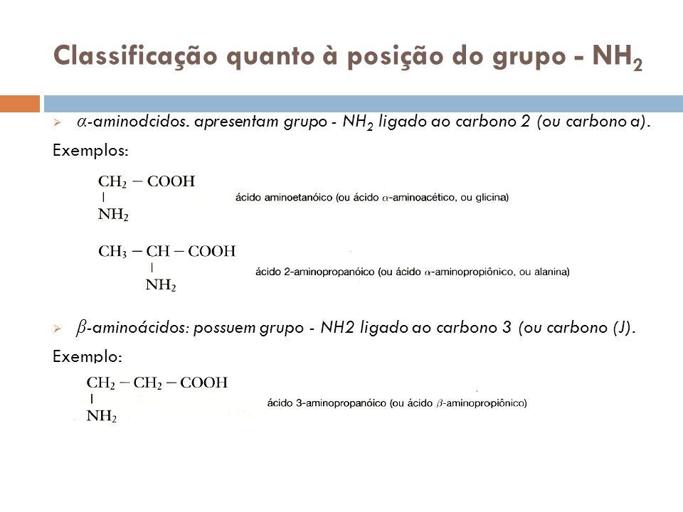 Classificação quanto à posição do grupo - NH 2 α -aminodcidos. apresentam grupo - NH 2 ligado ao carbono 2 (ou carbono a). Exemplos: β -aminoácidos: p