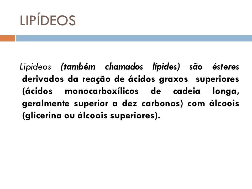 LIPÍDEOS Lipideos (também chamados lípides) são ésteres derivados da reação de ácidos graxos superiores (ácidos monocarboxílicos de cadeia longa, geralmente superior a dez carbonos) com álcoois (glicerina ou álcoois superiores).